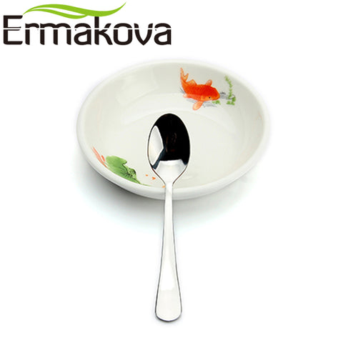 ERMAKOVA Set of 8 Espresso Spoon 4 Inches Mini Coffee Spoon Small Bistro Spoon for Dessert Stainless