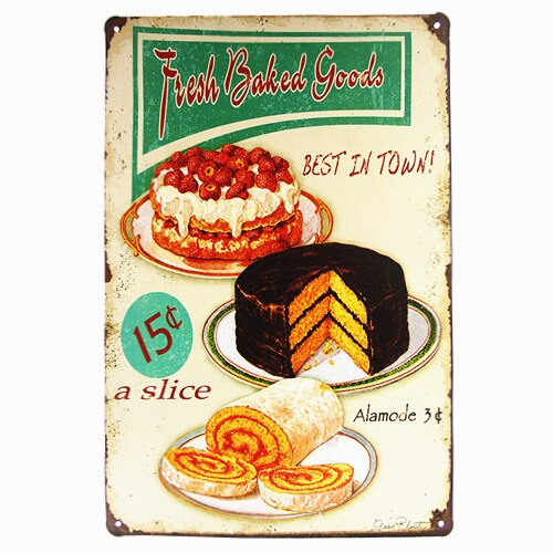 Eat me cupcake vintage tin sign coffee signs kitchen decor outdoor wall plaques antique tray