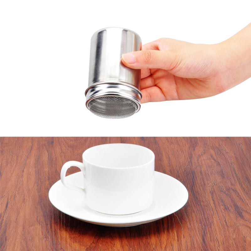 Coffee Stainless Chocolate Shaker Cocoa Flour Icing Sugar Powder Sifter Lid Shaker Kitchen Tools