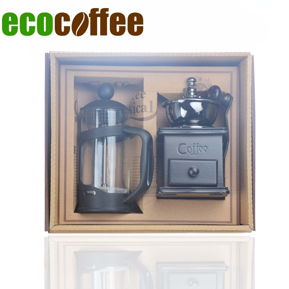 Ecocoffee Coffeeware Set 350ml French Press Manual Coffee Grinder DIY Household Coffeeware Gift