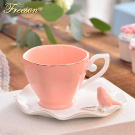Elegant Butterfly Bird Bone China Coffee Cup Saucer Spoon Set 220ml British Ceramic Teacup Europe
