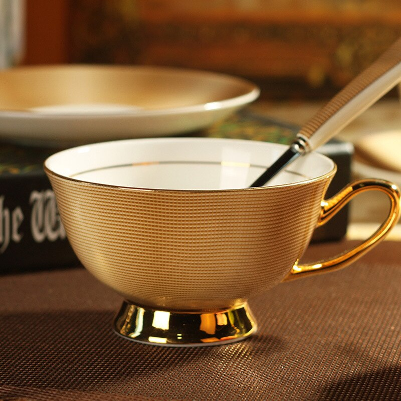 England Royal Bone China Golden Coffee Cup Dish Spoon Dinner Set Porcelain Decorative Cup Kitchen