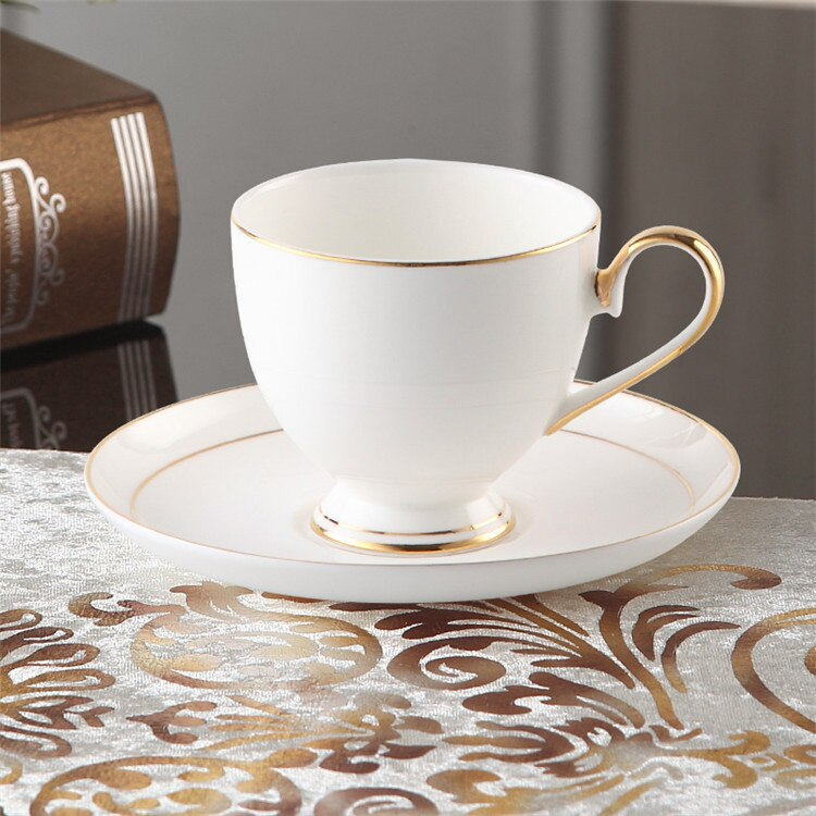 Europe Gold Inlay Bone China Coffee Cup Saucer Spoon Set 200ml British Advanced Porcelain Tea Cup