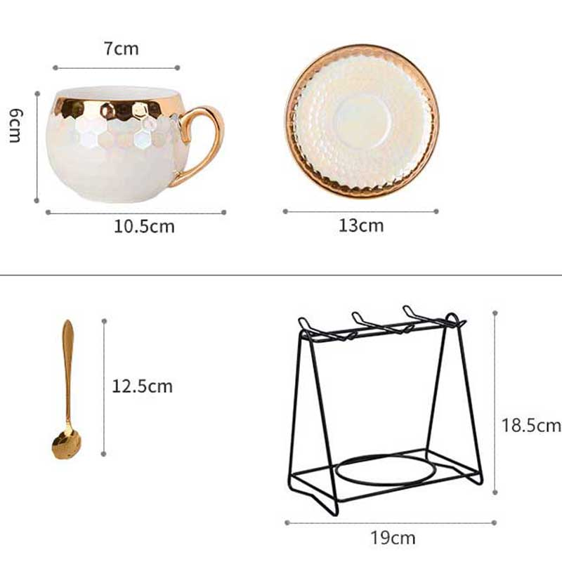 Europe Porcelain Pearl White Cup Set For Coffee Tea Gold Inlay Kitchen Utensils Ceramic Tableware