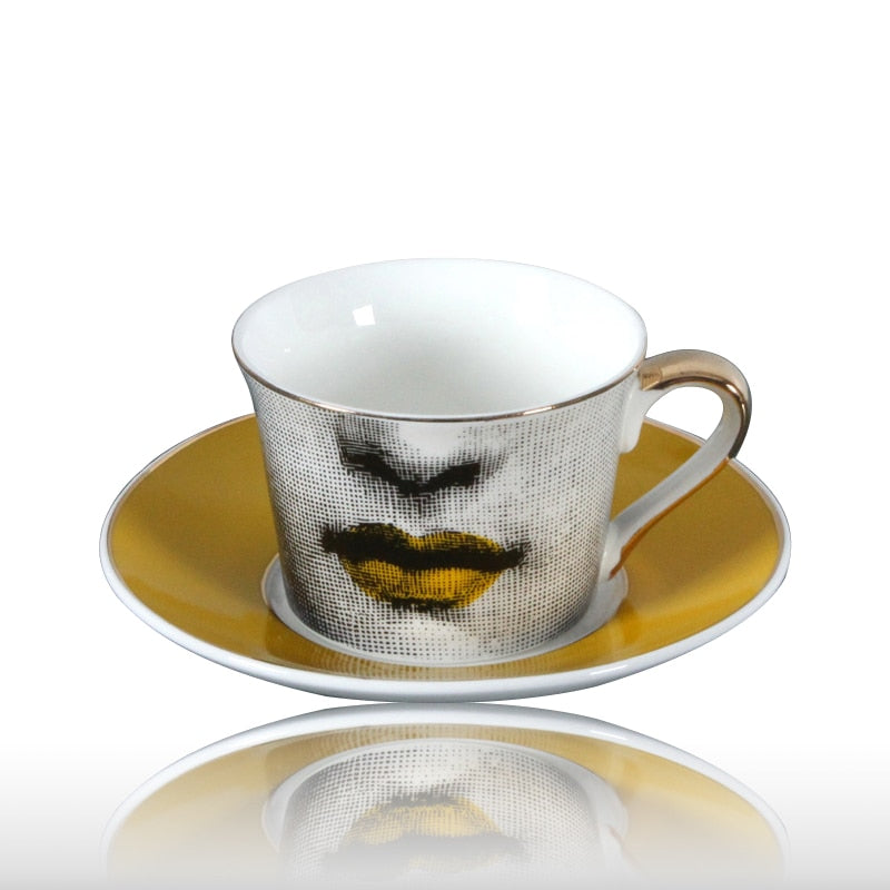 European Fornasetti Cup Golden Coffee Cup Lace Golden Dish Louisa Mouth Wedding Birthday Gift Tea