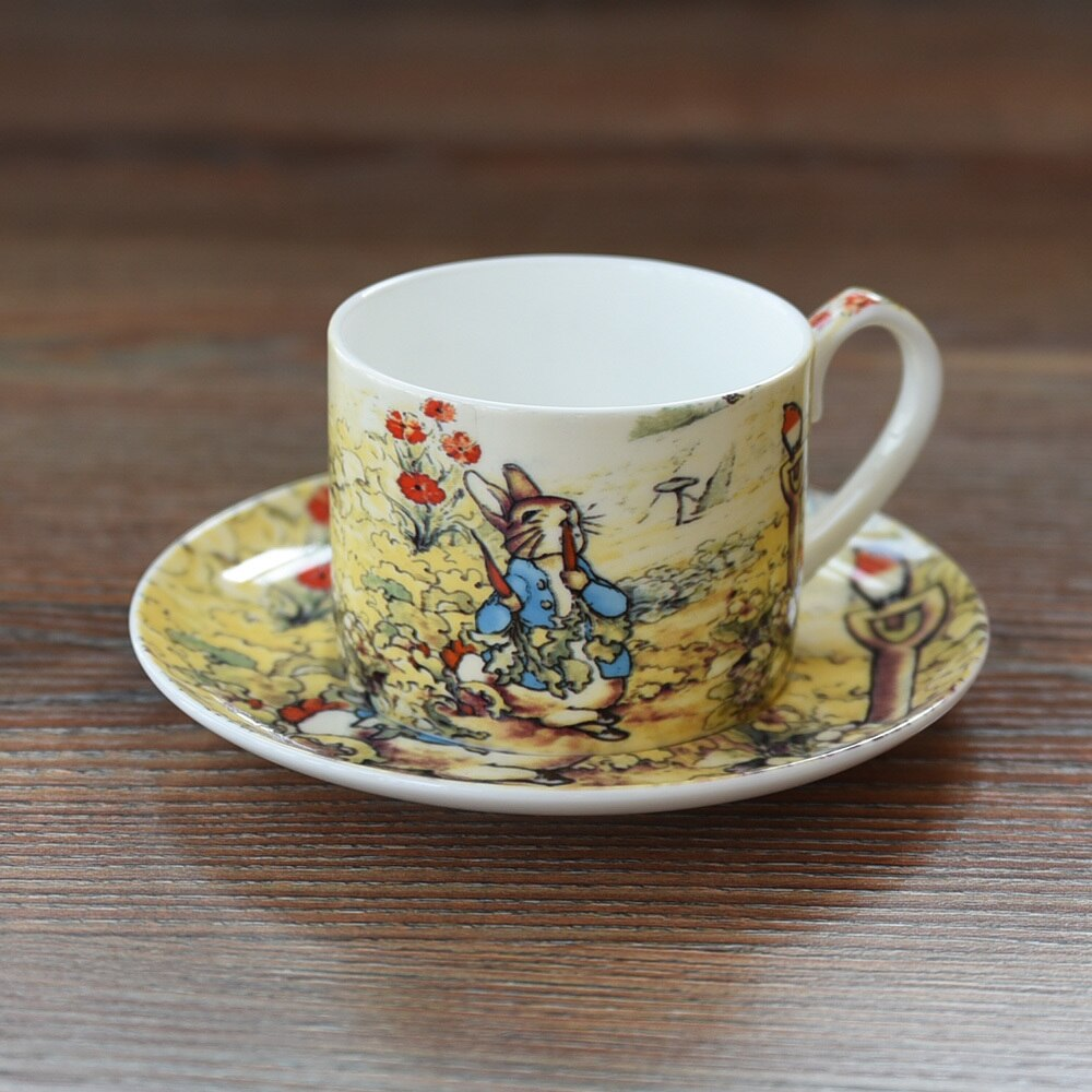 Export Britain Bone China Coffee Cup Saucer Sets England Cartoon Peter Rabbit Red Teacup Milk