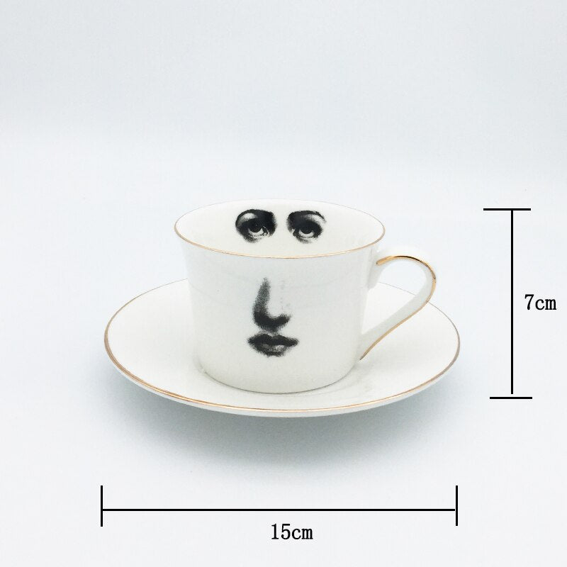Eye and Nose Coffee Cup and Saucer Set Quality Bone ChinaTazza Afternoon Tea Supply Elegant