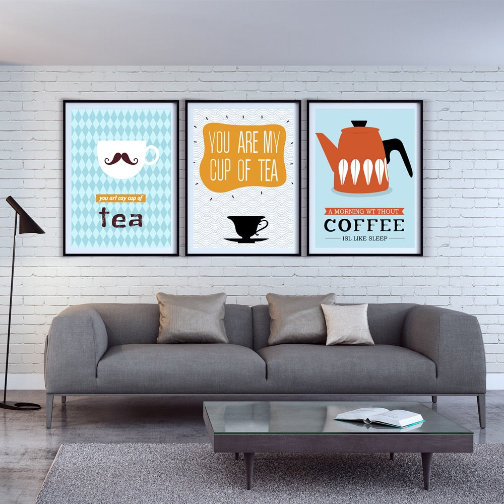 FGHGF Trio Painting Modern Fashion Coffee Tea A4 Canvas Painting Art Print Poster Picture Wall Home Simple Wall Decor