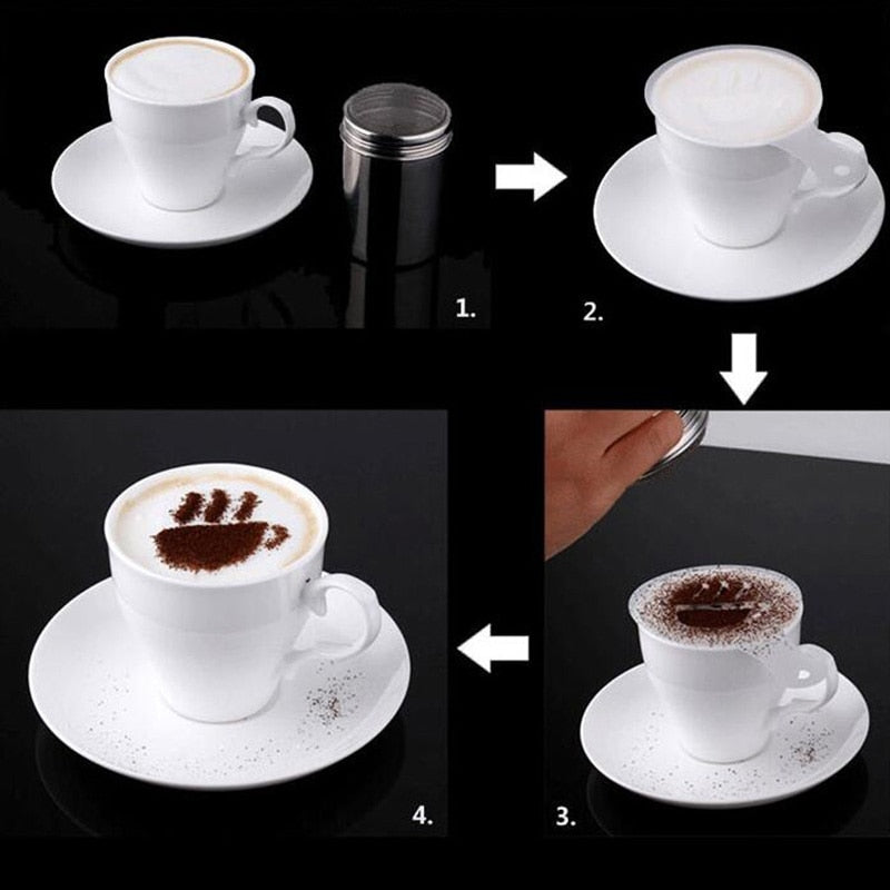 FHEAL 16pcs/set Creative Coffee Pull Flowers Stencils Coffee Cake Spray Tools Printing Templates
