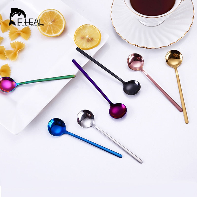 FHEAL 1pc Coffee Scoops Stainless Steel Simple Design Tea Coffee Spoon Coffeeware Fruit Rice Cake