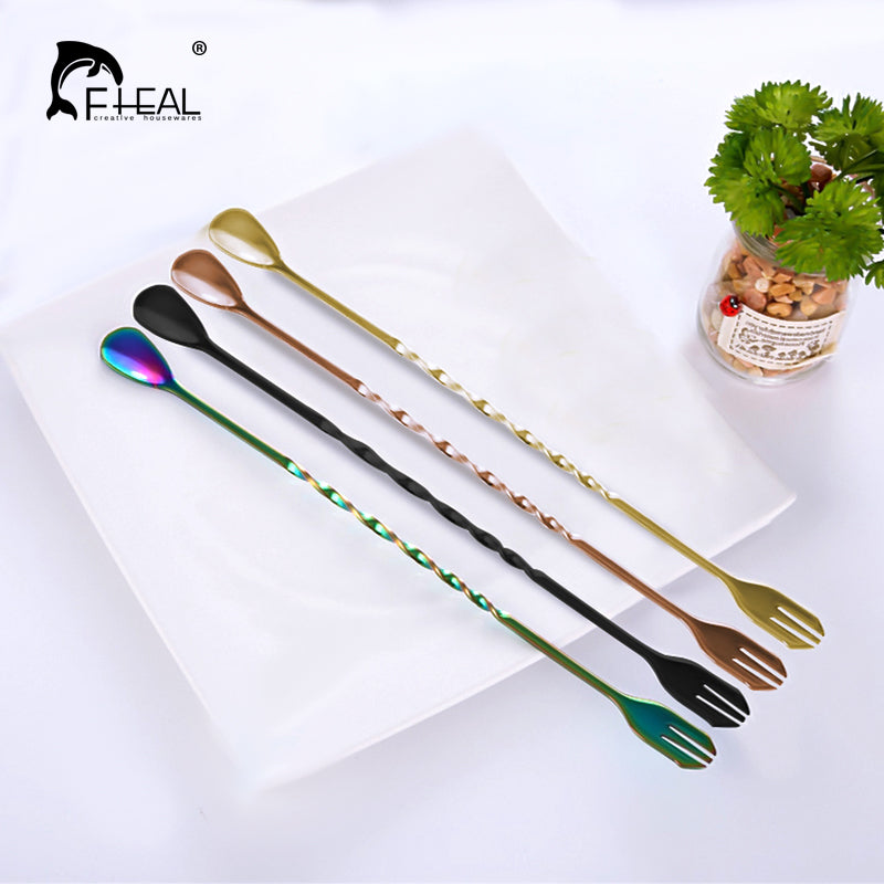 FHEAL 1pc Long Handle Coffee Scoops Stainless Steel With Fork Spiral Handle Cocktail Stirring