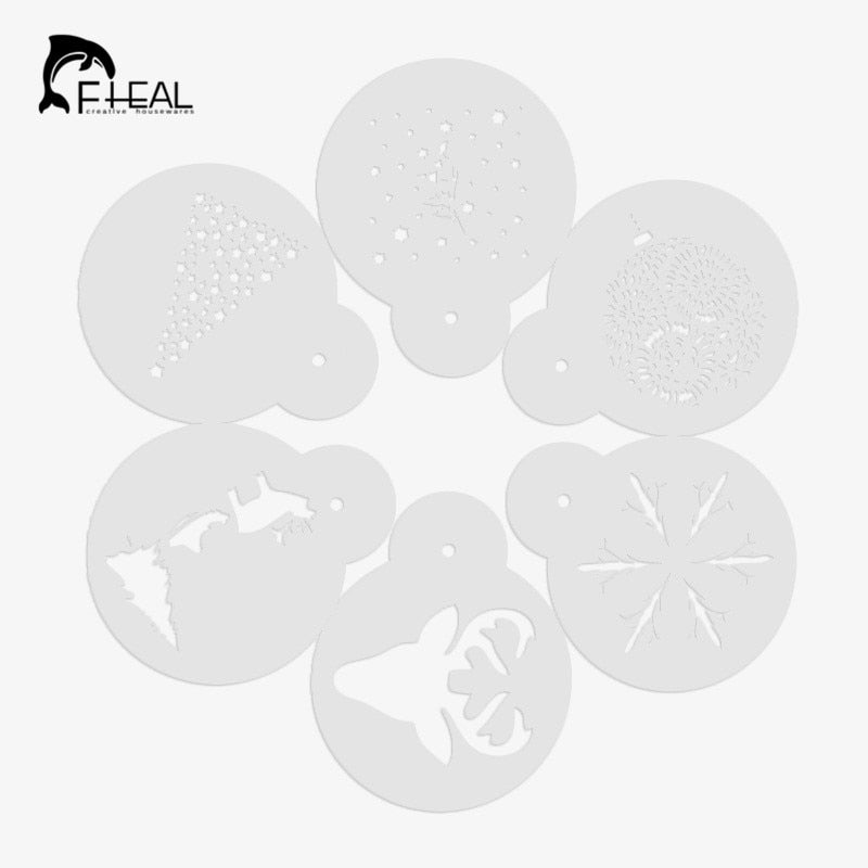 FHEAL 6pcs/set Coffee Pull Flower Mould Christmas Series Coffee Pull Flower Duster Spray Mold