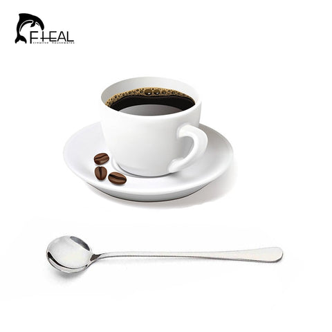 FHEAL High Quality Stainless Steel Long-handled Spoons 2 pcs Flatware for Dessert Coffee Ice Cream