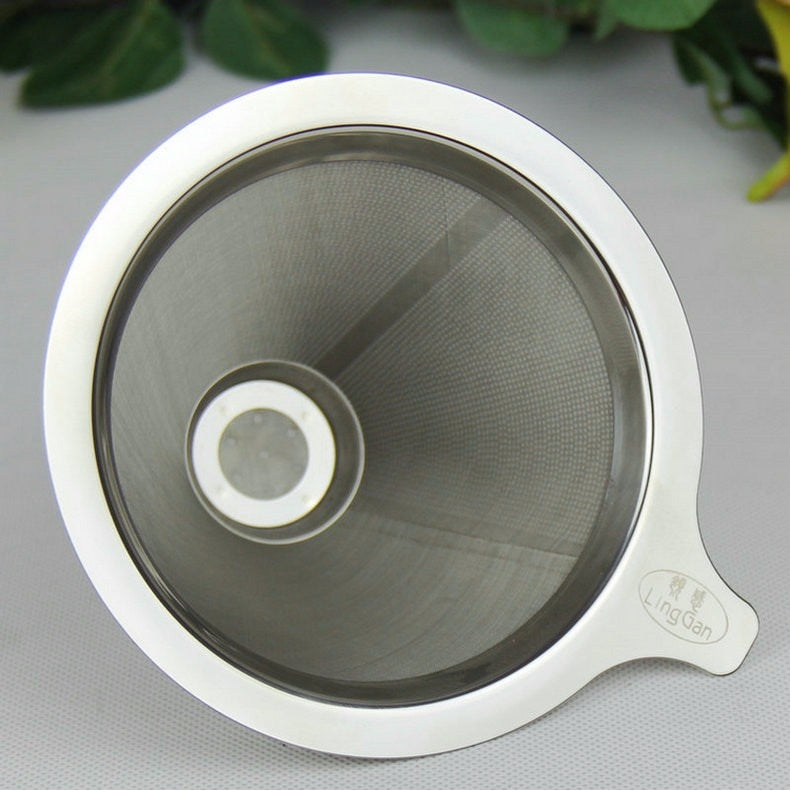 FeiC 1pc Double Layer Stainless Steel Drip Coffee Filter Reusable no paper filter for V60