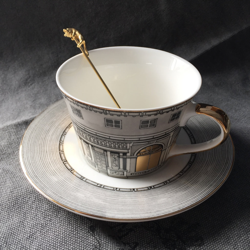 Fornasetti Tea Cup Nordic Bone Gold Window Retro Swan Castle Classic Wind Coffee Cup Home Decoration
