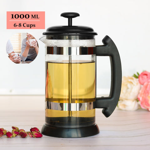 French Press Coffee/Tea Brewer Coffee Pot Coffee Maker Kettle 1000ML Stainless Steel Glass Thermos