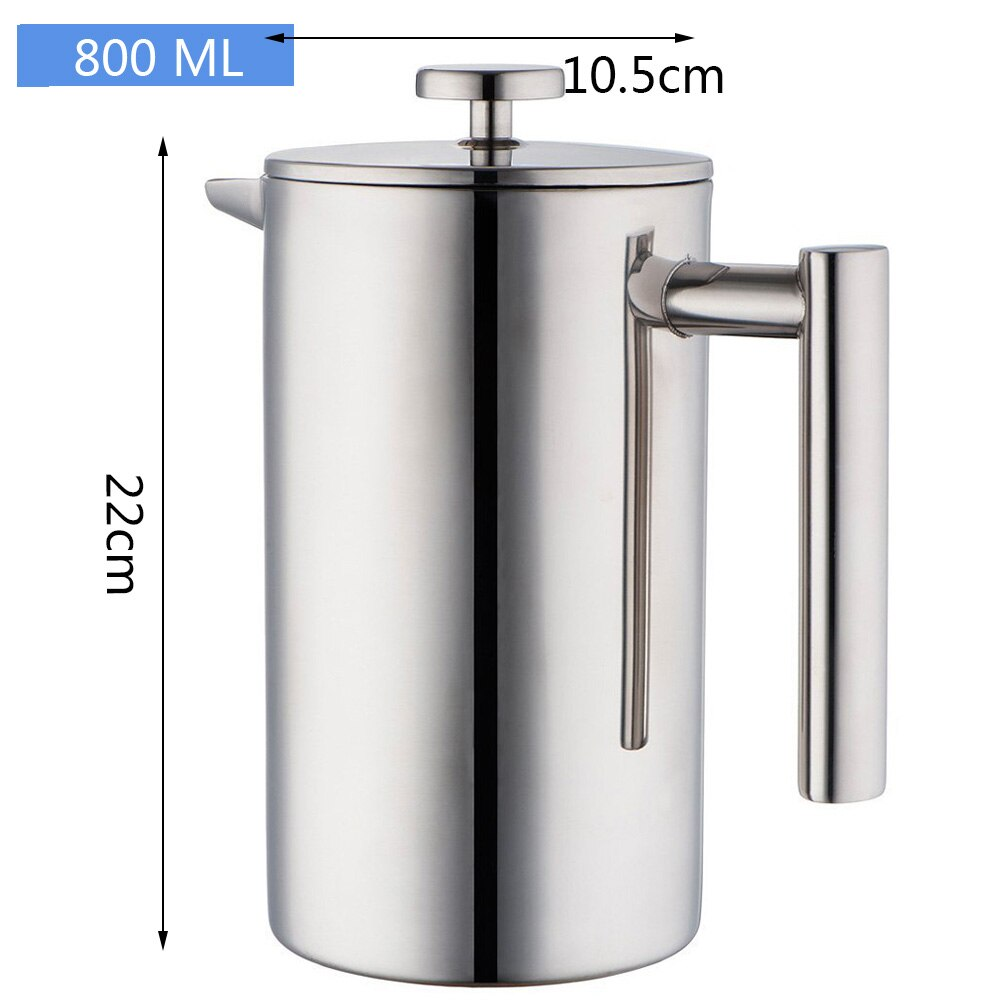 French Press Coffee Tea Brewer Double Wall 1Liter 34 Ounces, Heavy Duty 18/10 Stainless Steel