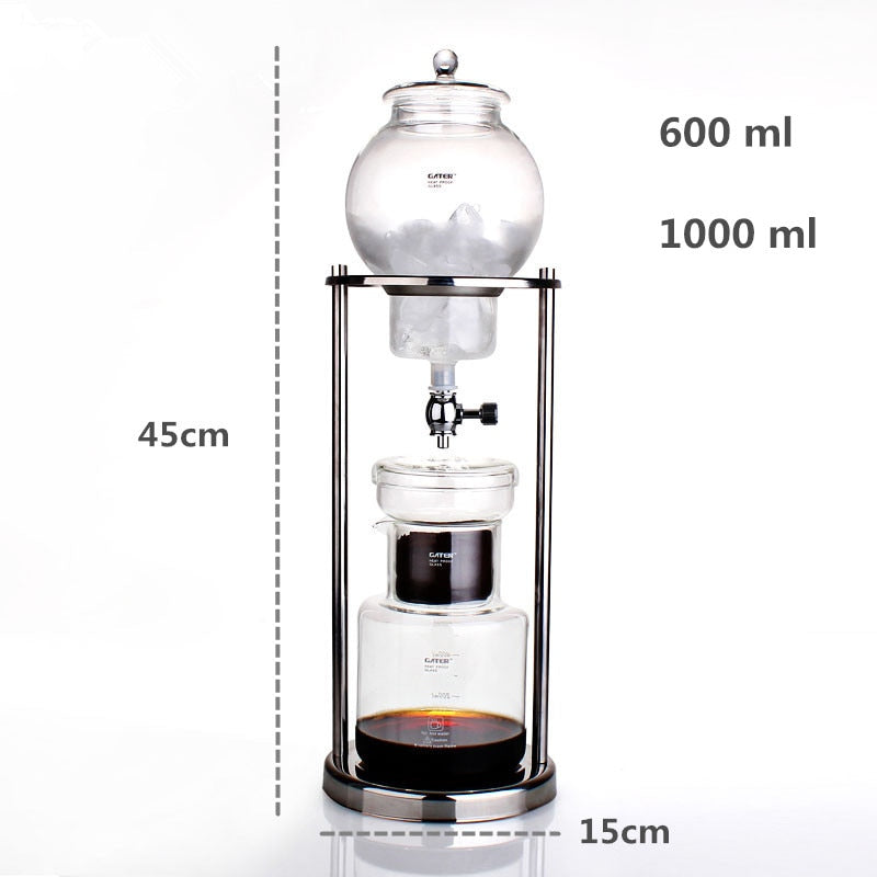 GATER 600ml 1000ml Water Drip Coffee Maker Reusable Glass Filter Tools Espresso Coffee Dripper Pot