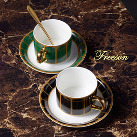 Gold Painted Ceramic Coffee Cup Saucer Spoon Set 150ml Luxury Porcelain Tea Cup Elegant Teacup