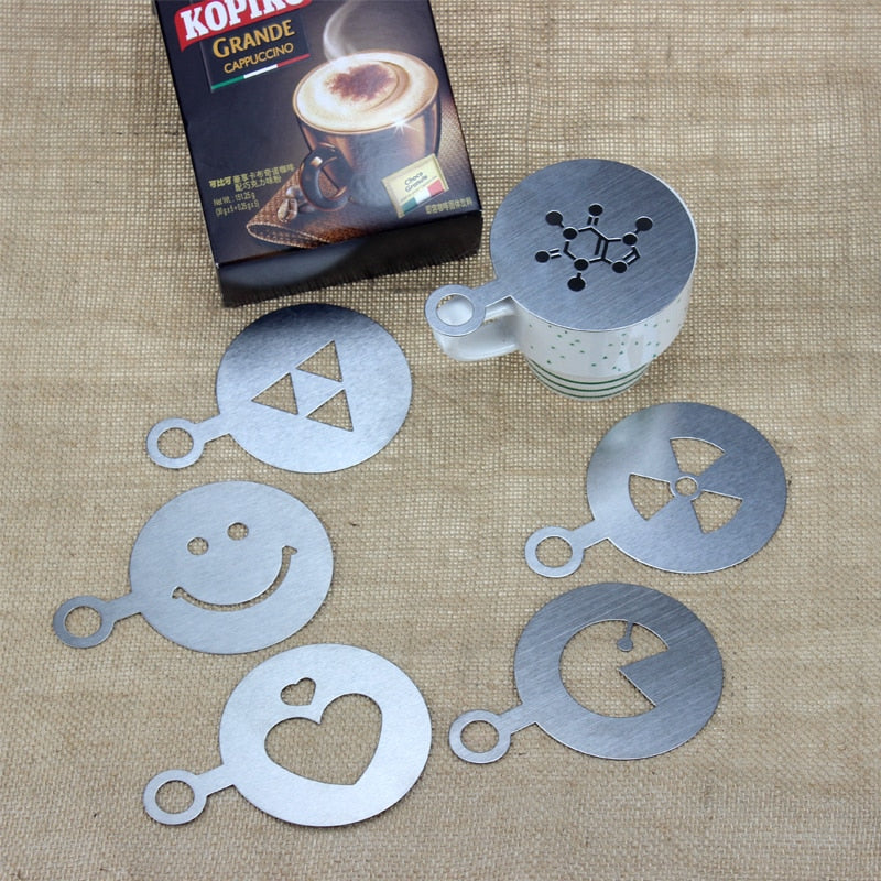 HADELI 6pcs/lot Stainless Steel Metal Chocolate DIY Coffee Latte Art Mould Cappuccino Coffee