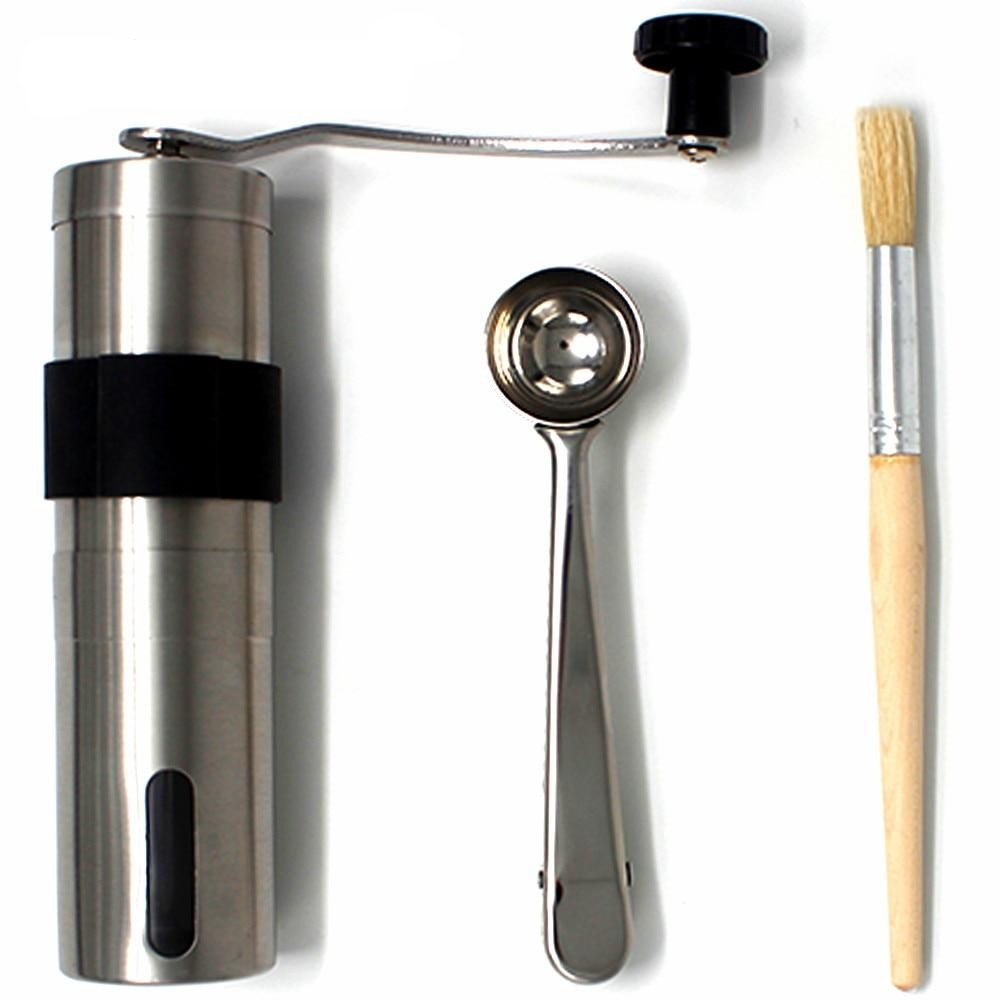 HIKUUI 1 Set Manual coffee grinder + Hairbrush+Measuring spoon, Kitchen Tools Set Mini Portable