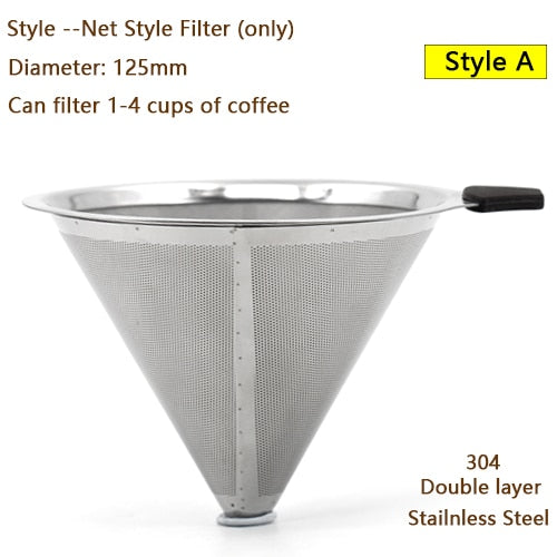 HIKUUI 3 Style Coffee Filters Double Layer Drip Reusable 304(18/8) Stainless Steel Suitable 1-4 People Make Coffee kitchen Tools