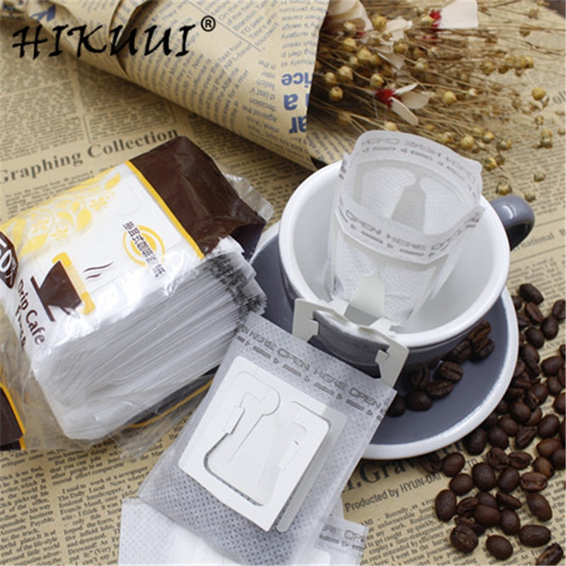 HIKUUI 50pcs/100pcs/150pcs Disposable Drip Coffee Cup Filter Bags Hanging Cup Coffee Filters
