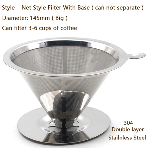 HIKUUI Stainless Steel Coffee Filter Dripper Reusable Base Double Mesh Base Coffee Leach Drip