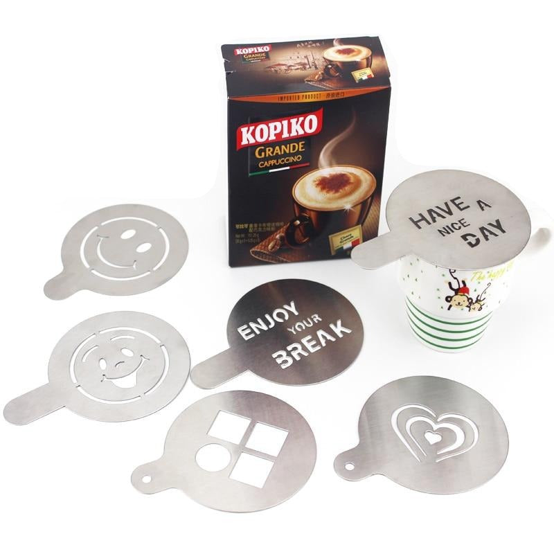 Hadeli 6pcs/set Diameter 10cm Stainless Steel Coffee Stencils Metal Chocolate Cake Mold Printing