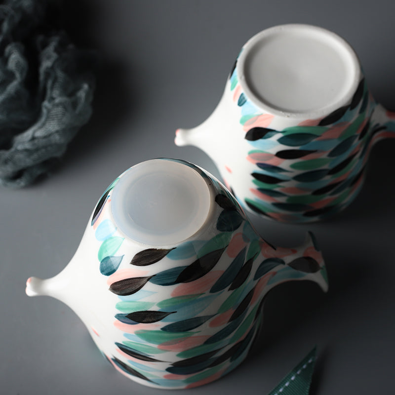 Handmade 3D Fish Shape Ceramic Cup And Saucer Coffee Cup Set Afternoon Black Tea Porcelain Teacup
