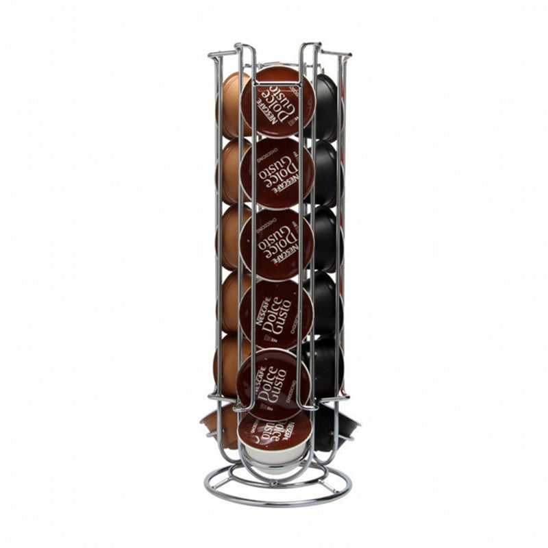 Metal Coffee Pods Holder Tower Chrome Plating Stand Coffee Capsule Storage Rack for