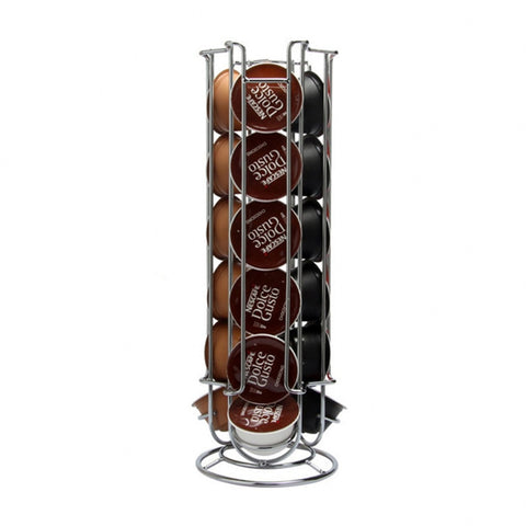 High quanlity Metal Coffee Pods Holder Tower Chrome Plating Stand Coffee Capsule Storage Rack for