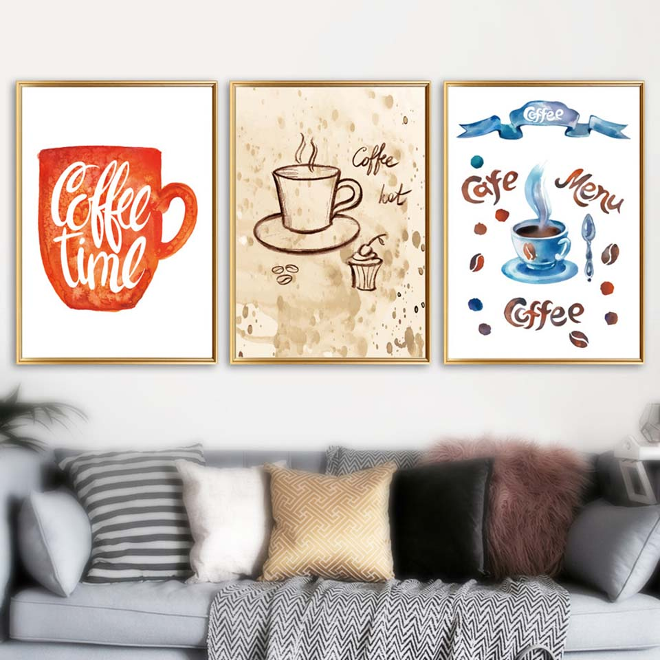 Home Decoration Prints Painting Nordic Style Coffee Pictures Cup Wall Art Modular Canvas Watercolor Poster Modern For Restaurant