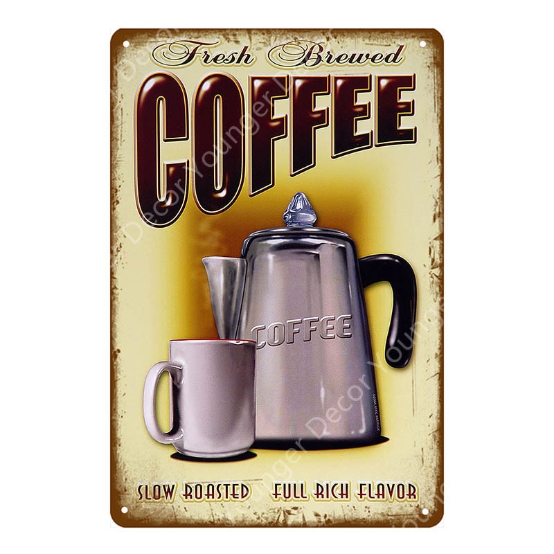Hot Coffee Signs Sweet Tea Poster American Diner Caffeine Cafe Shop Decor Vintage Wall Art Painting Plaque Kitchen Decoration