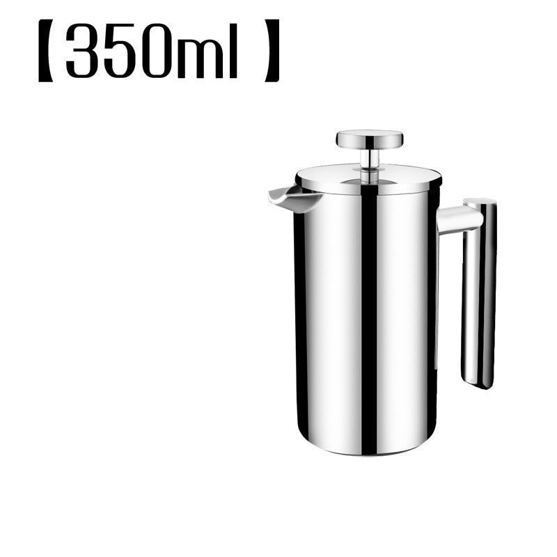 Hot selling Stainless steel 304 double layer french presses coffee pot with 150ML mugs set larger