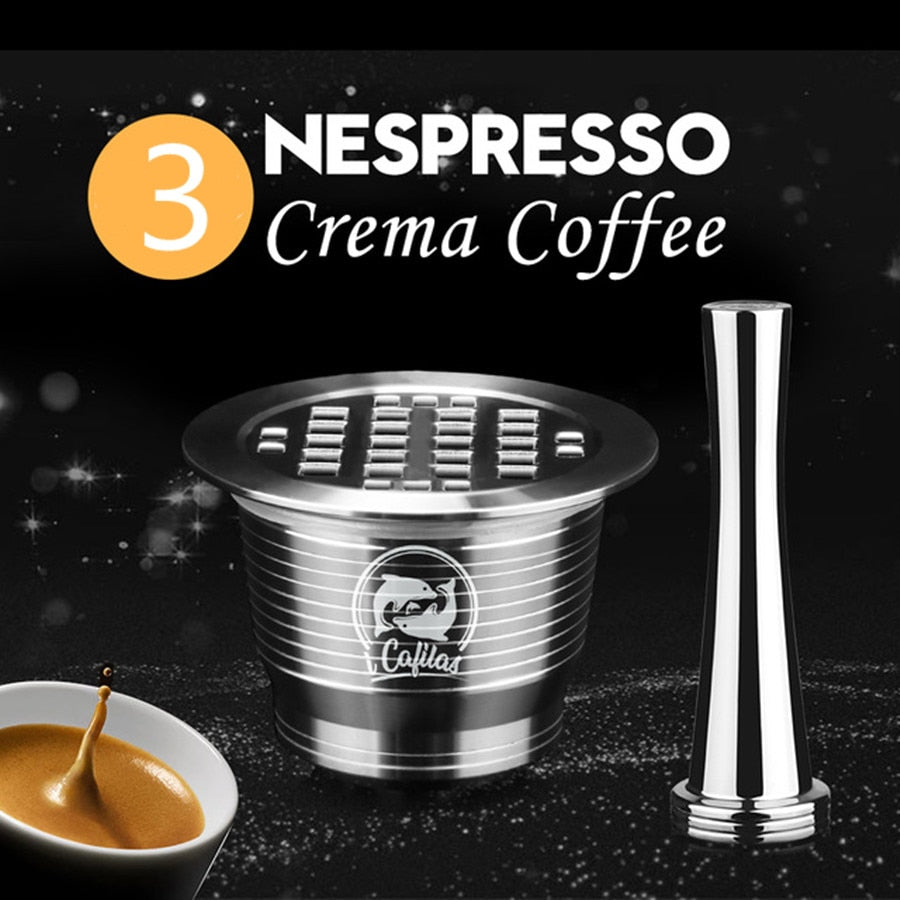 ICafilas Stainless Metal Reusable Nespresso Capsule with Press Coffee Grinds Stainless Tamper