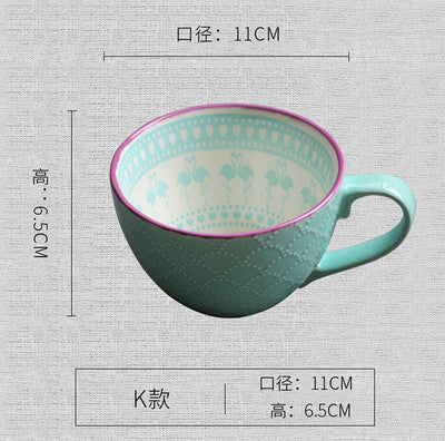 JIA-GUI LUO Ceramic hand painted coffee cup Creative vintage cup Cafe bar supplies Embossed