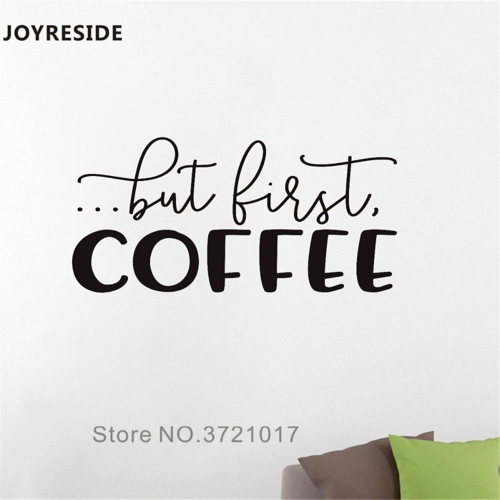 JOYRESIDE But First Coffee Wall Decal Quotes Wall Sticker Words Vinyl Decor Home Kitchen Art Decor