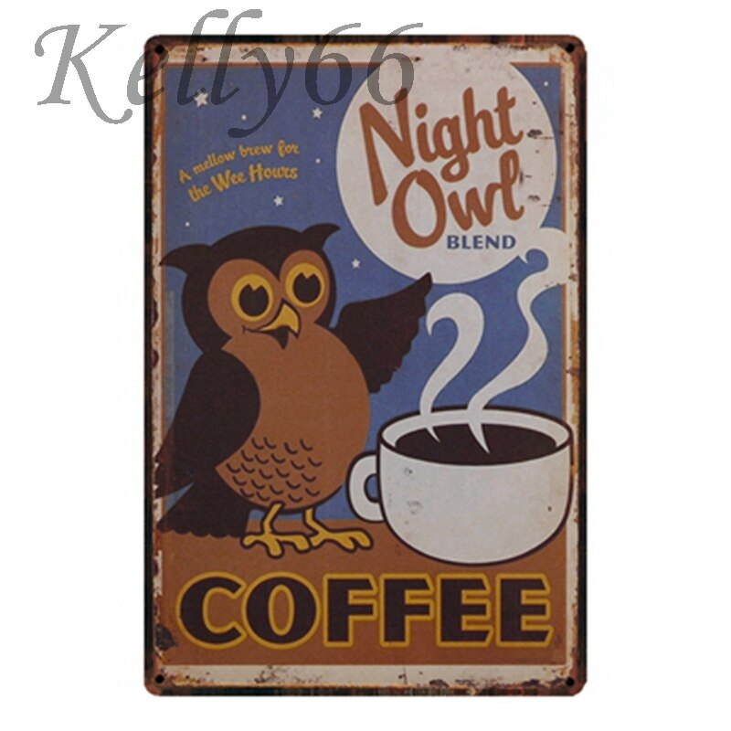 [ Kelly66 ] Fat Cat Coffee Metal Sign Tin Poster Home Decor Bar Wall Art Painting 20*30 CM Size y-1564