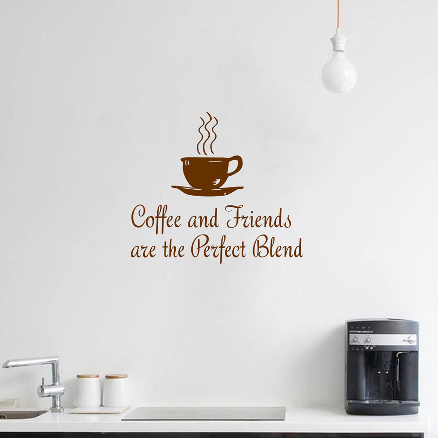 "Kitchen Coffee Quotes Wall Decal "" Coffee and Friends.. "" Vinyl Wall Sticker Dining Room , Kitchen Wall Art Mural Home Decor"