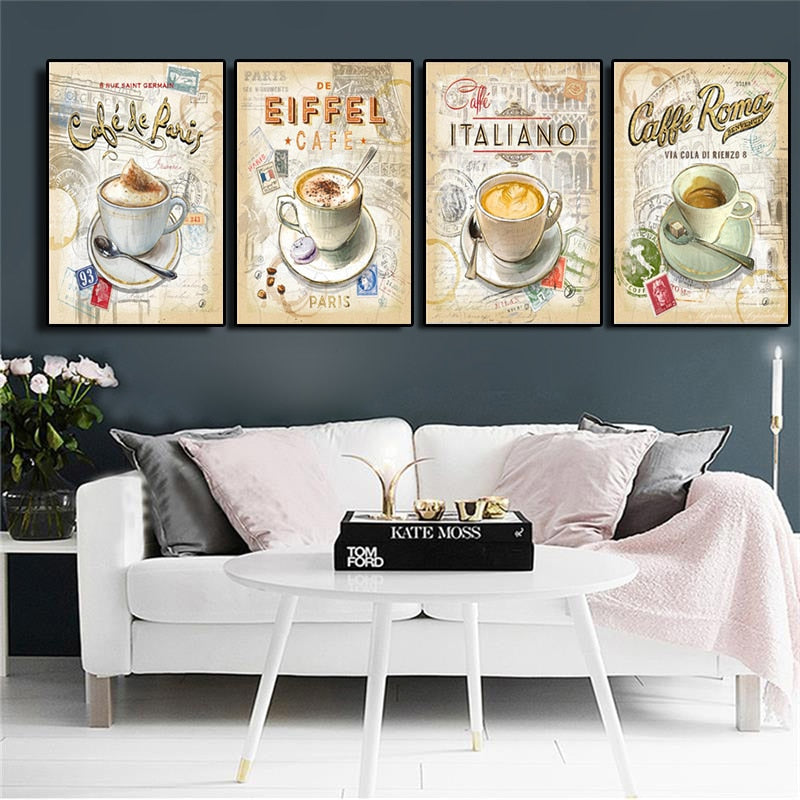 Kitchen Vintage Coffee Paris Londo Collection Posters and Prints Canvas Painting Scandinavian Art Wall Picture For Living Room