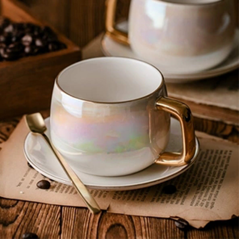 LEKOCH Aurora pearl glaze Ceramic Afternoon Black Tea Cups And Saucers With Spoon Coffee Cup With