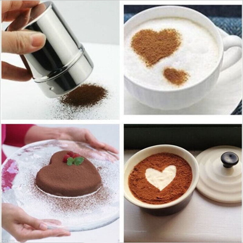 LIXYMO 1 pc Multifunction Chocolate Cocoa Coffee Powder Blender Stainless Steel Saltcellar Pepper