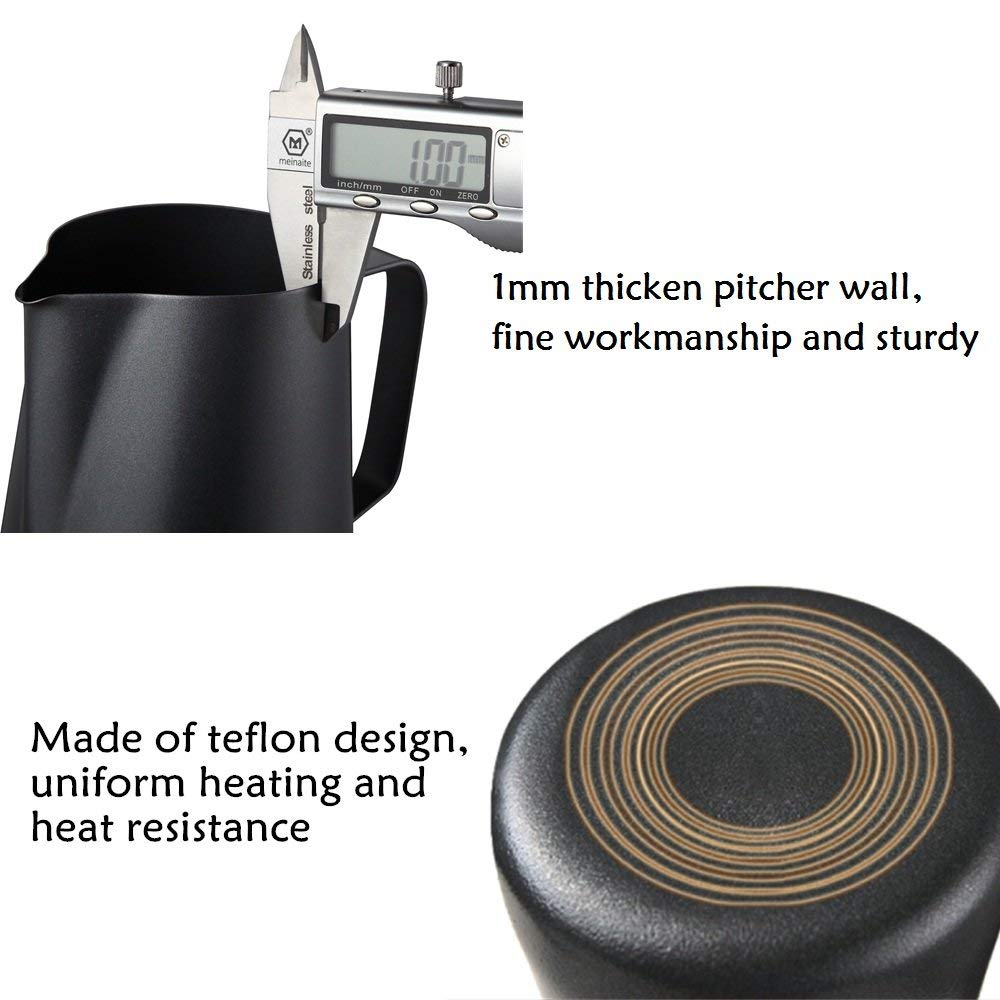 Leeseph Milk Frothing Pitcher Jug, Matte Black Stainless Steel Coffee Pot, Suitable for Coffee,