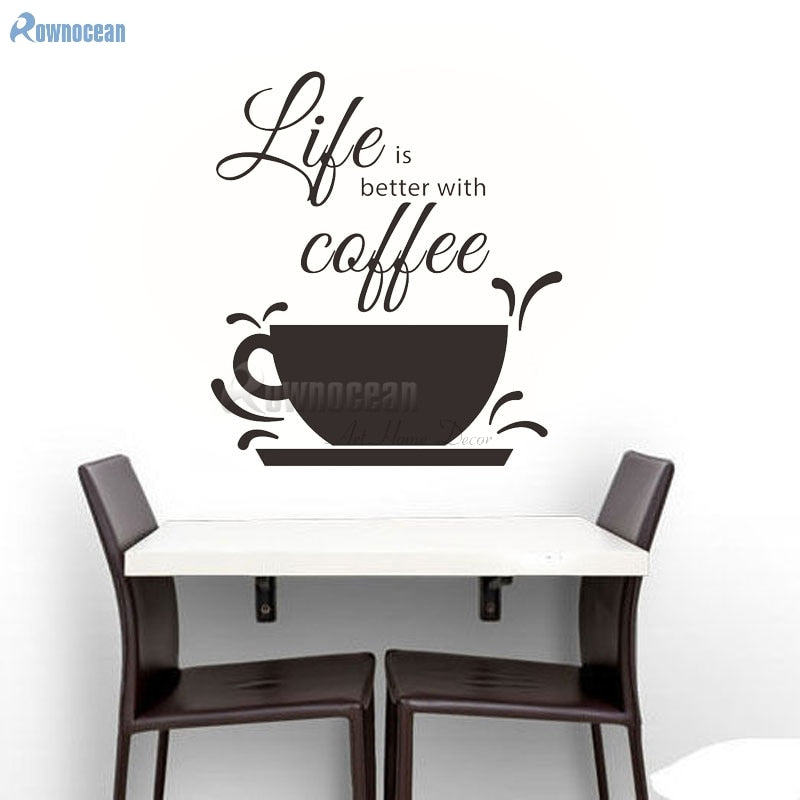Life is better with coffee Fashion Wall Sticker Quotes Home Decor Tile Stickers Kitchen Room Vinyl Decoration Cafe House D581