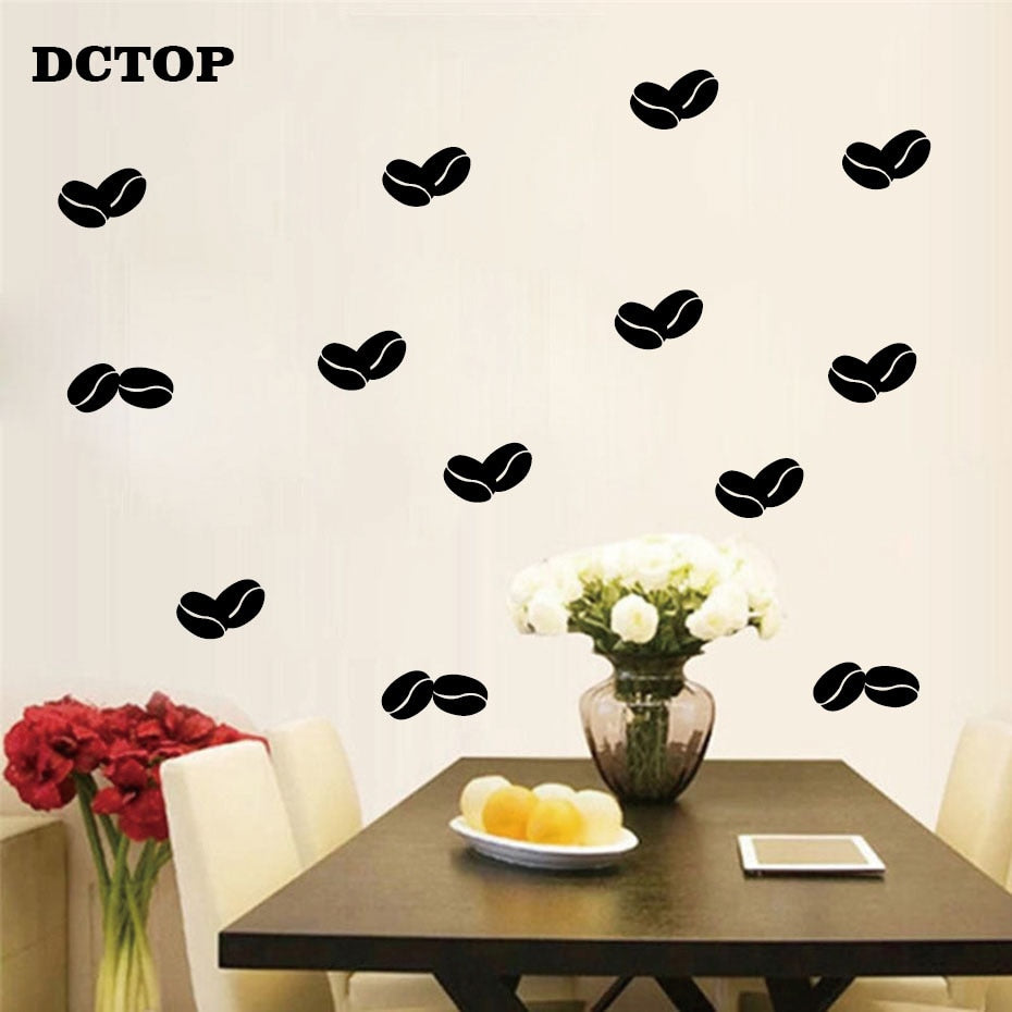Lovely Coffee Bean Wall Sticker Modern DIY Vinyl Decal Removable Home Decor for Kitchen Coffer Bar Store Wall Art