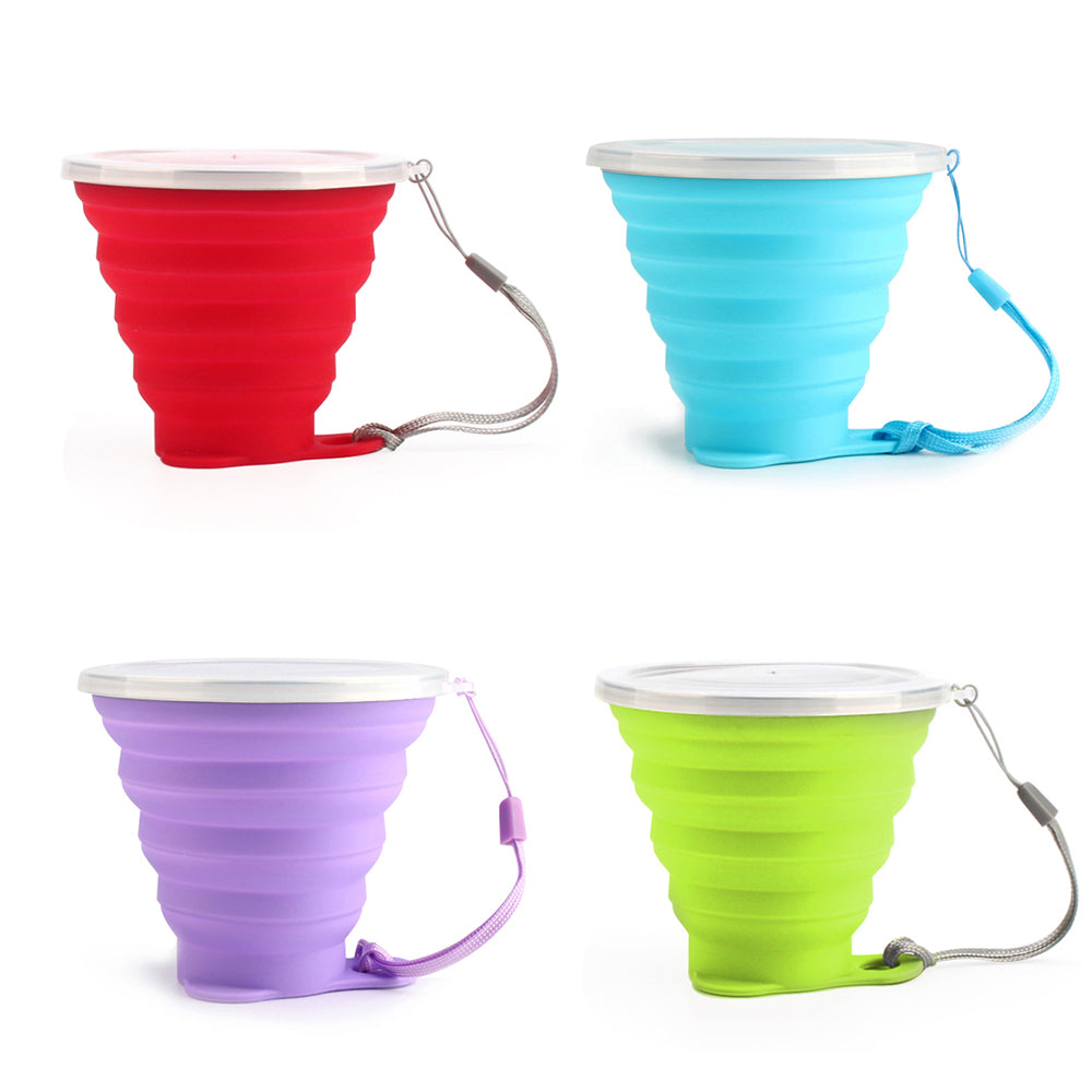 ME.FAM New 270ml Outdoor Silicone Folding Water Cup With Lanyard / Lid Retractable Travel Mini