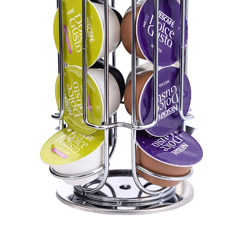 Meltset Table Type Coffee Capsule Stand Coffee Pod Holder Rotating Rack Dolce Gusto Capsules Display