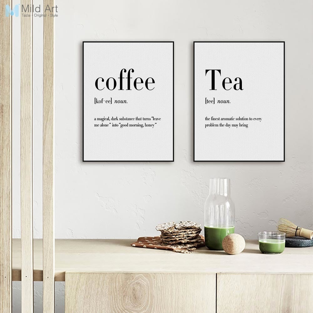 Minimalist Black and White Beer Coffee Wine Quotes Posters Print Nordic Kitchen Room Wall Art Picture Home Decor Canvas Painting