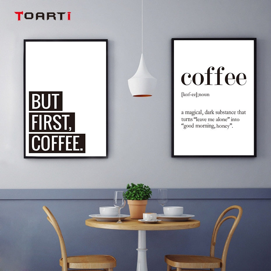 Minimalist Black and White Coffee Quotes Posters Print Nordic Kitchen Room Cafe Modern Wall Art Picture Bar Cafe Decor